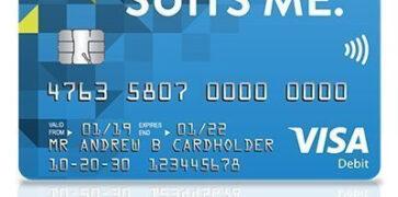 Image of a blue Suits Me Prepaid Visa Debit Card