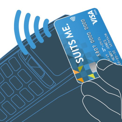 Image of a Suits Me Visa Debit Card Being Used to Make a Contactless Payment