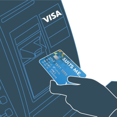 Image of a Suits Me Visa Debit Card Being Used to Withdraw Cash at an ATM