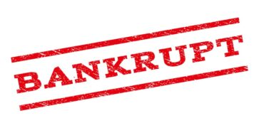 Bankrupt stamping on white background