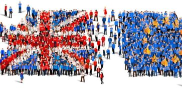 Illustration: Union jack flag and EU flag made up of people in red, white and blue and yellow clothing wandering about