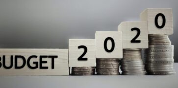 Budget 2020 Wooden Cubes and Coins