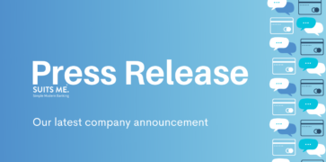 """Blue Graphic with Text saying """"press release"""" with """"our latest company announcement"""" & pictures of debit cards and conversation bubbles"""