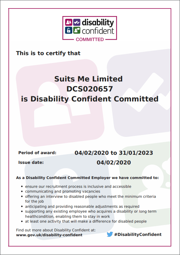 Suits Me Disability Confident Committed Certificate