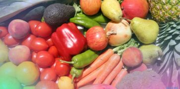 Close up shot of various fruit and vegetables grown in a sustainable way