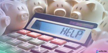 Image of a calculator with the words help instead of numbers - surrounded by piggybanks. Financial difficulties concept.