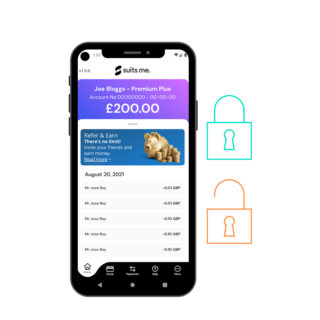 The Suits Me mobile banking app